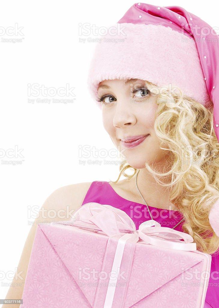 cheerful santa helper girl with gift box royalty-free stock photo