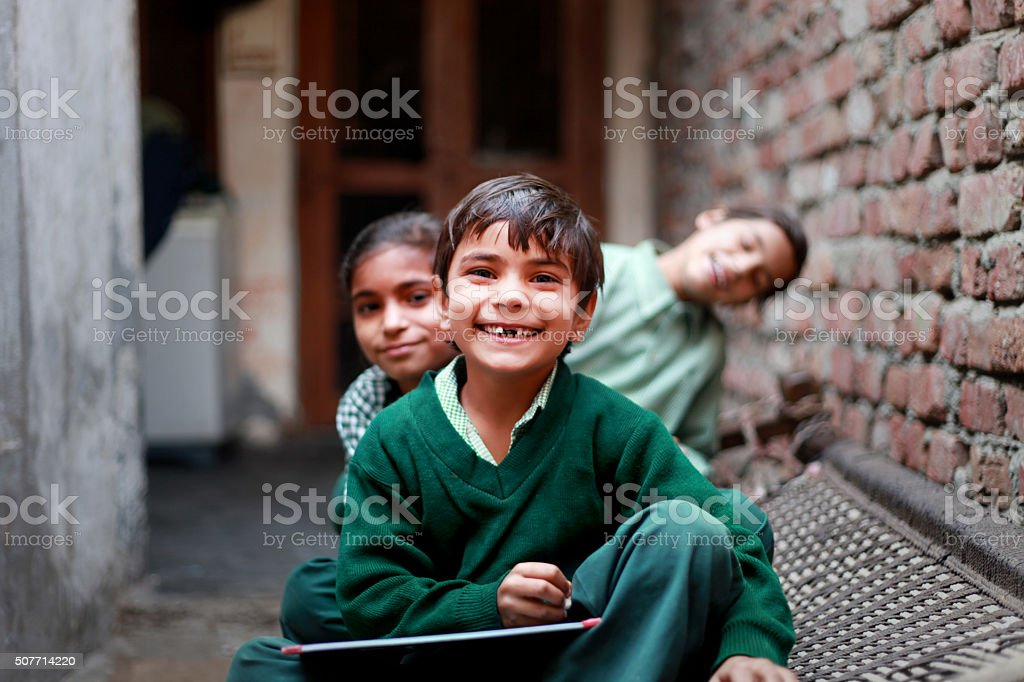 Cheerful School Students portrait at Home stock photo
