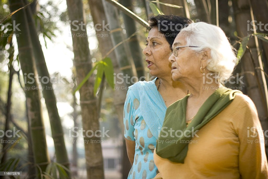 Cheerful senior Indian Asian Mother and Daughter outdoor portrait royalty-free stock photo