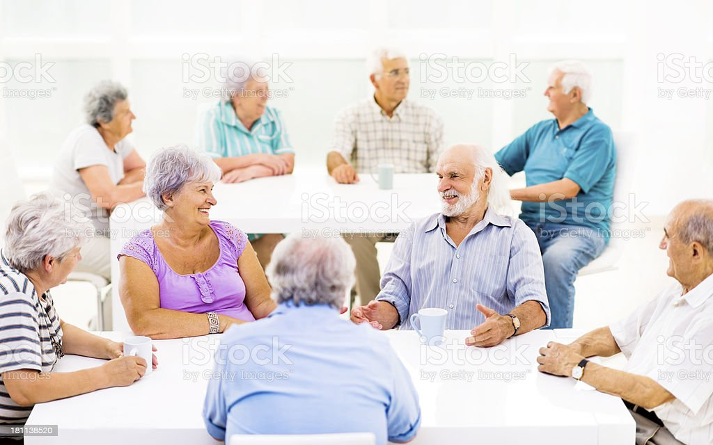 Cheerful seniors communicating. royalty-free stock photo