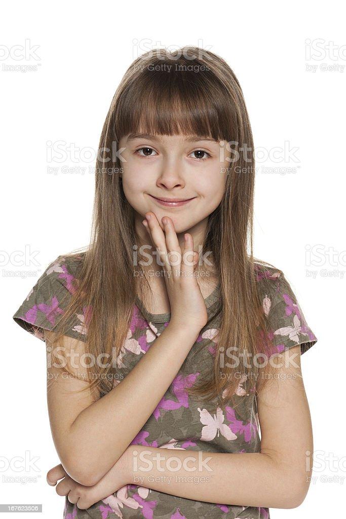 Cheerful shy girl royalty-free stock photo