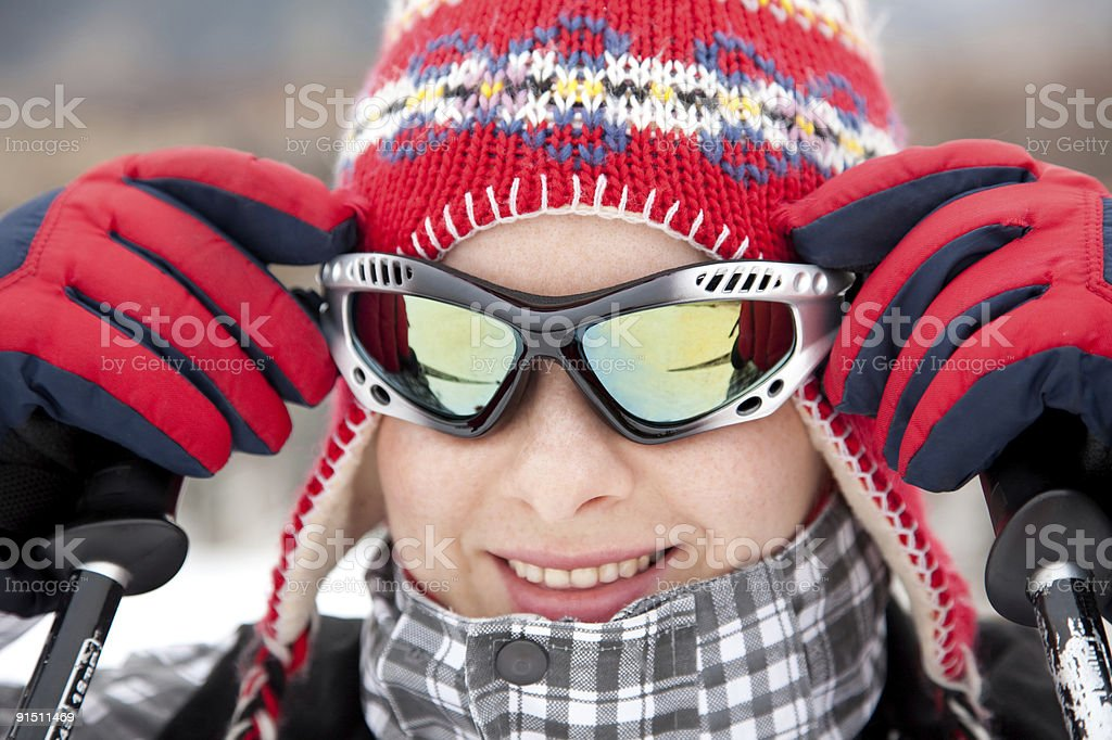 cheerful skier stock photo
