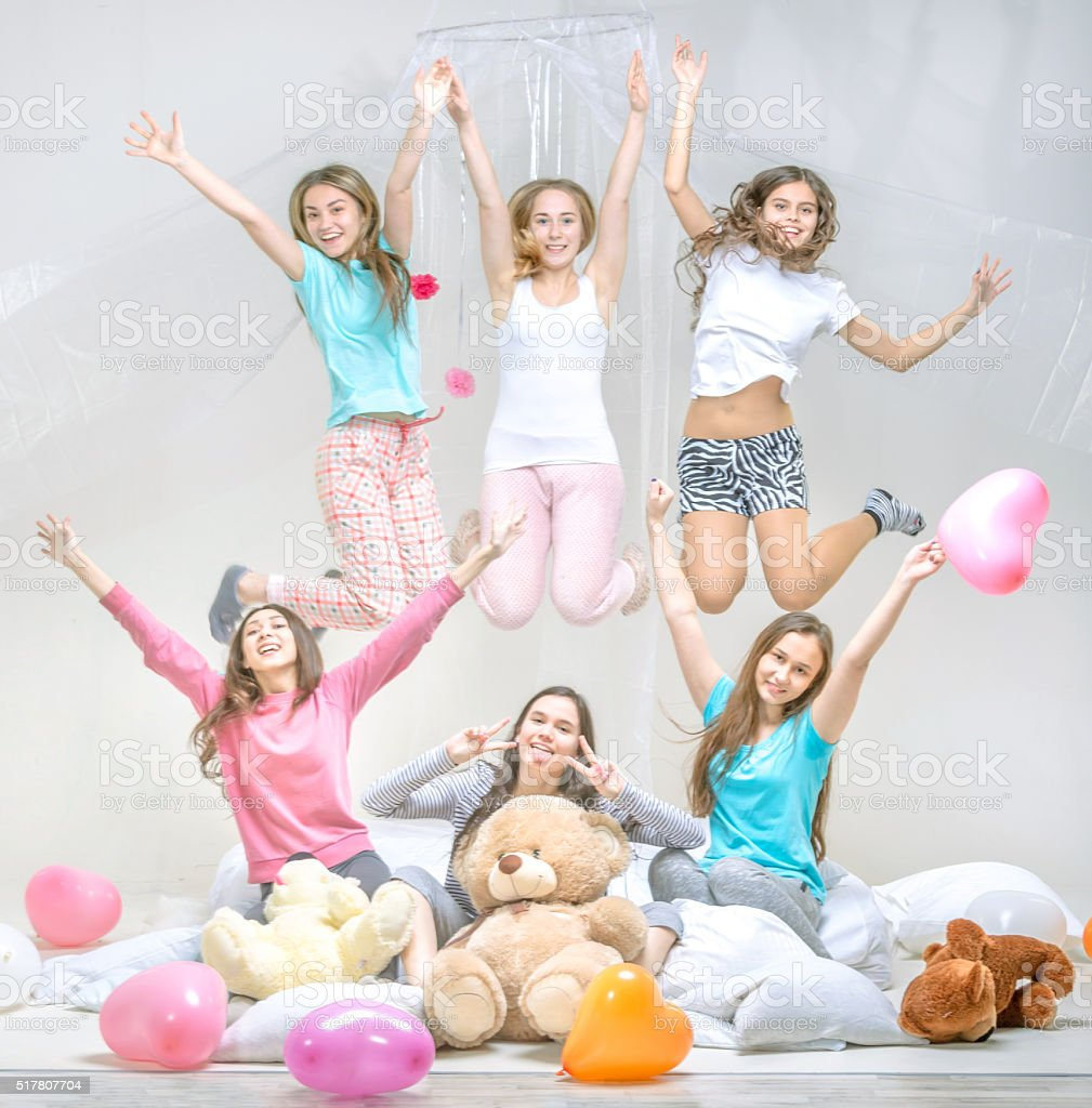 Cheerful Slumber Party stock photo