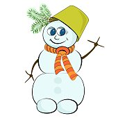 Cheerful snowman with a green bucket on his head