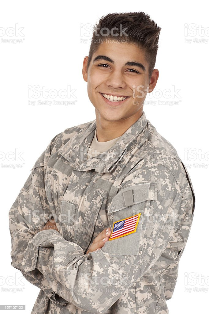 Cheerful soldier smiling royalty-free stock photo