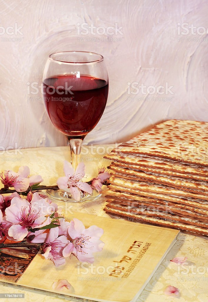 cheerful spring festival of Passover and its attributes stock photo