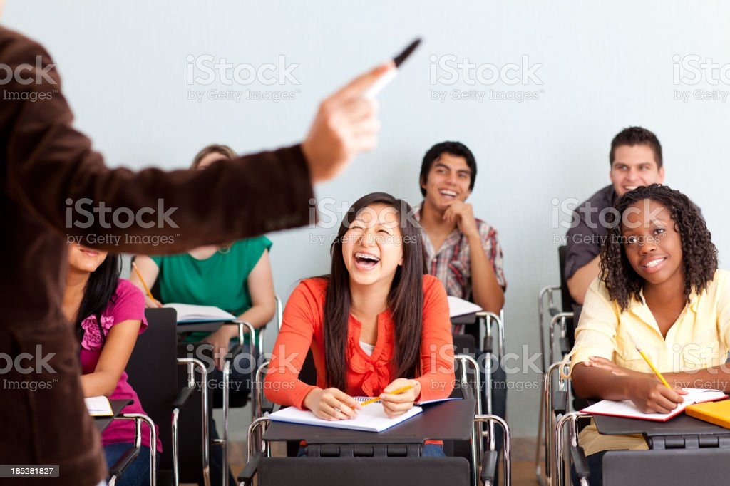 Cheerful students in class royalty-free stock photo