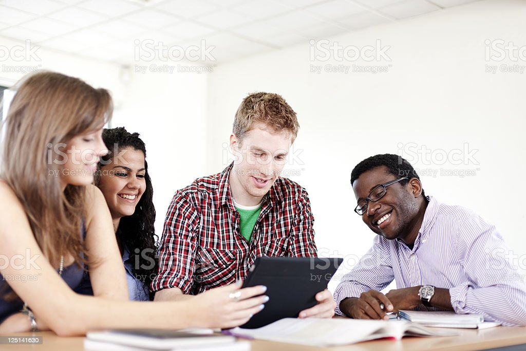 Cheerful study royalty-free stock photo