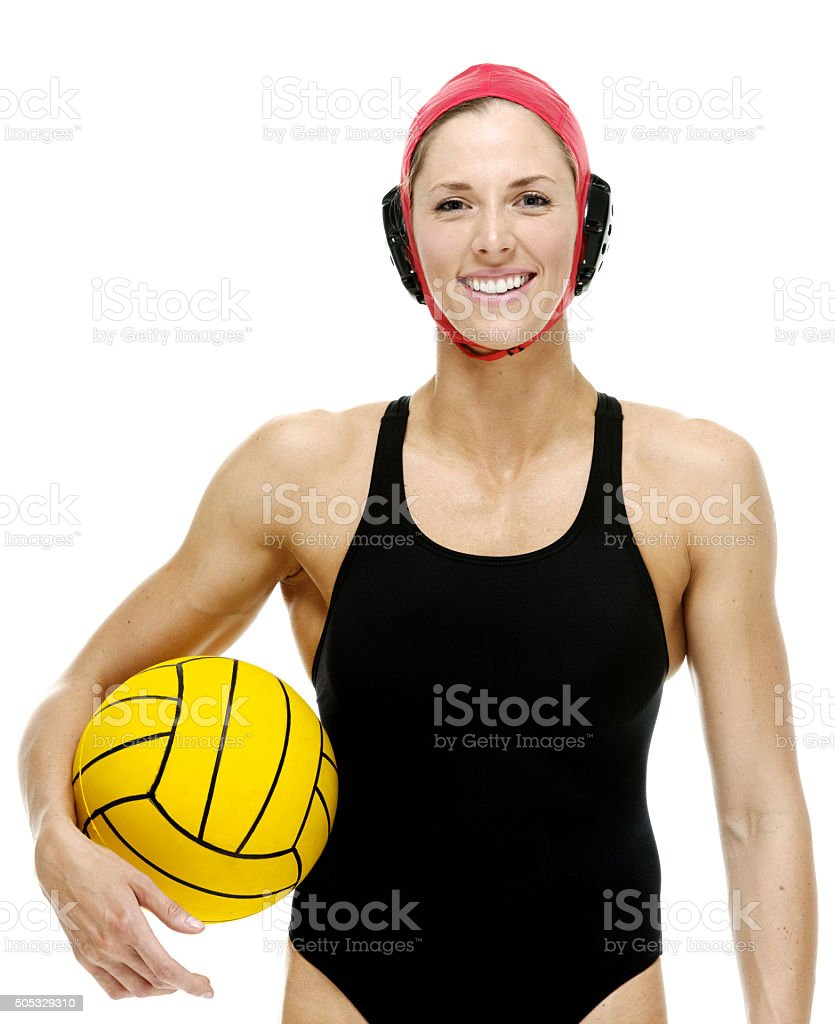 Cheerful swimmer holding water polo ball stock photo