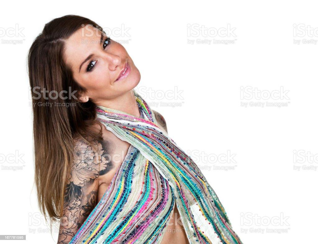Cheerful tattooed woman stock photo