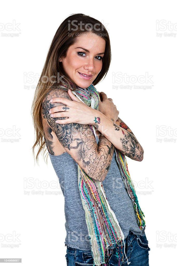 Cheerful tattooed women stock photo