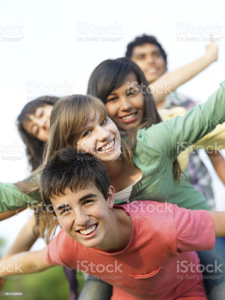 Cheerful teenagers having fun stock photo