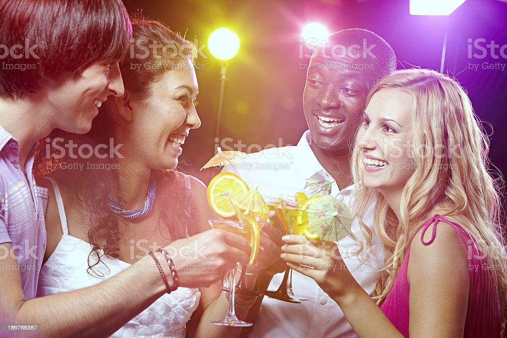 Cheerful toasting royalty-free stock photo