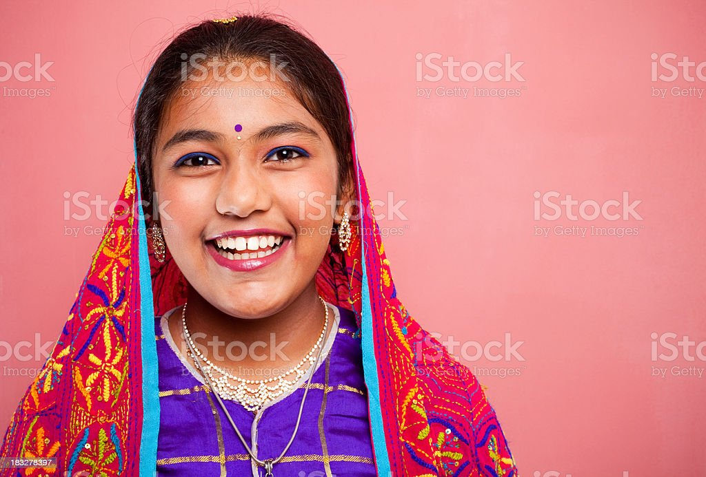 Cheerful Traditional Indian Attractive Beautiful Teenager Girl stock photo