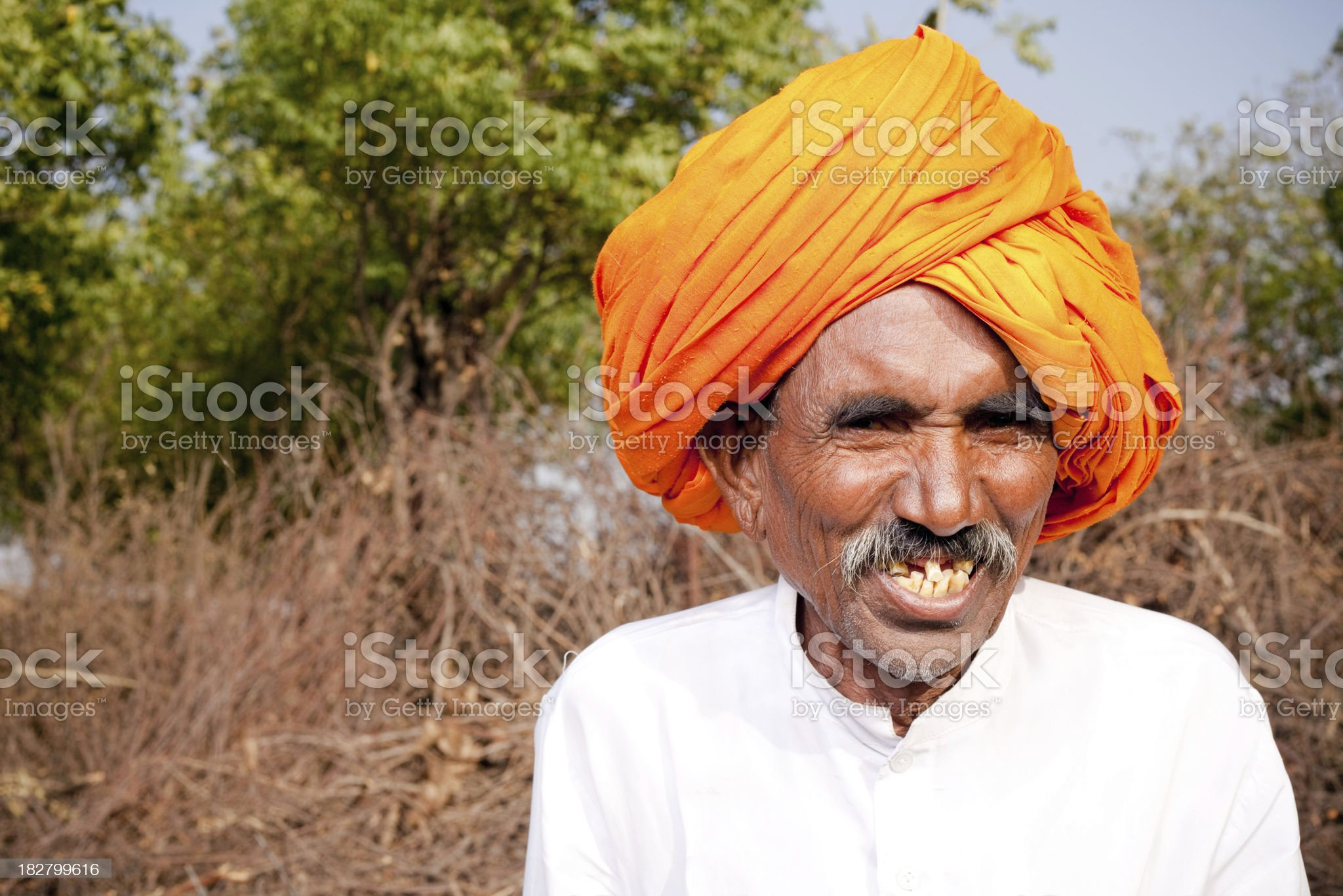 Cheerful Traditional Rural Indian Man in Rajasthan royalty-free stock photo