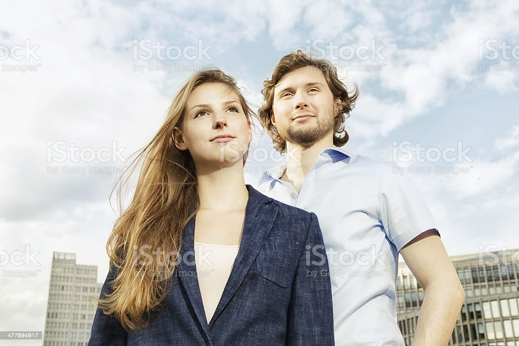 cheerful urban couple royalty-free stock photo