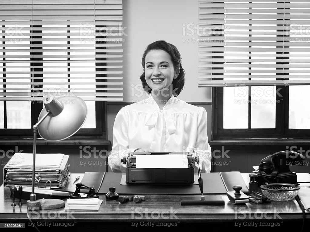 Cheerful vintage secretary stock photo