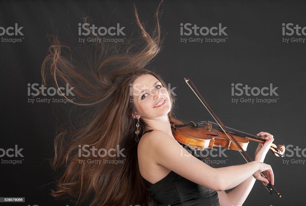 cheerful violinist stock photo