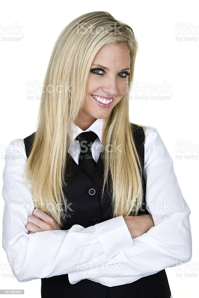 Cheerful waitress or bartender stock photo