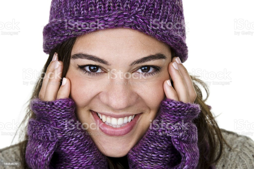 Cheerful winter woman royalty-free stock photo