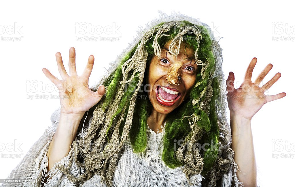 Cheerful witch stock photo