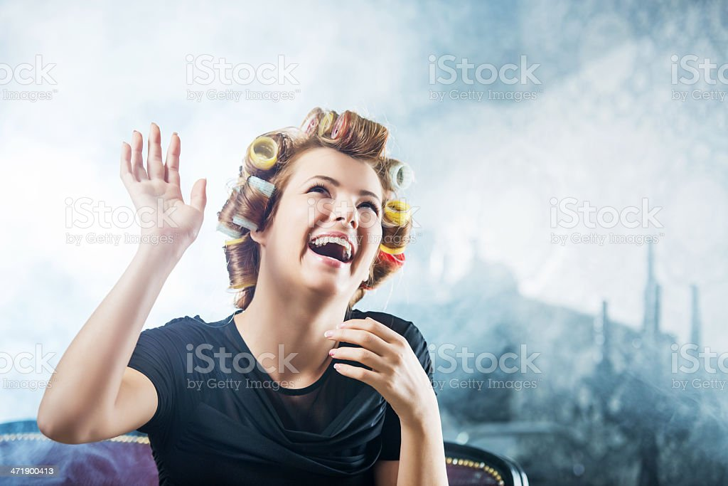 Cheerful woman at the hairdresser's. royalty-free stock photo