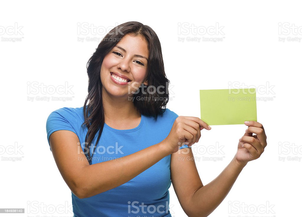 Cheerful woman holding a business card royalty-free stock photo