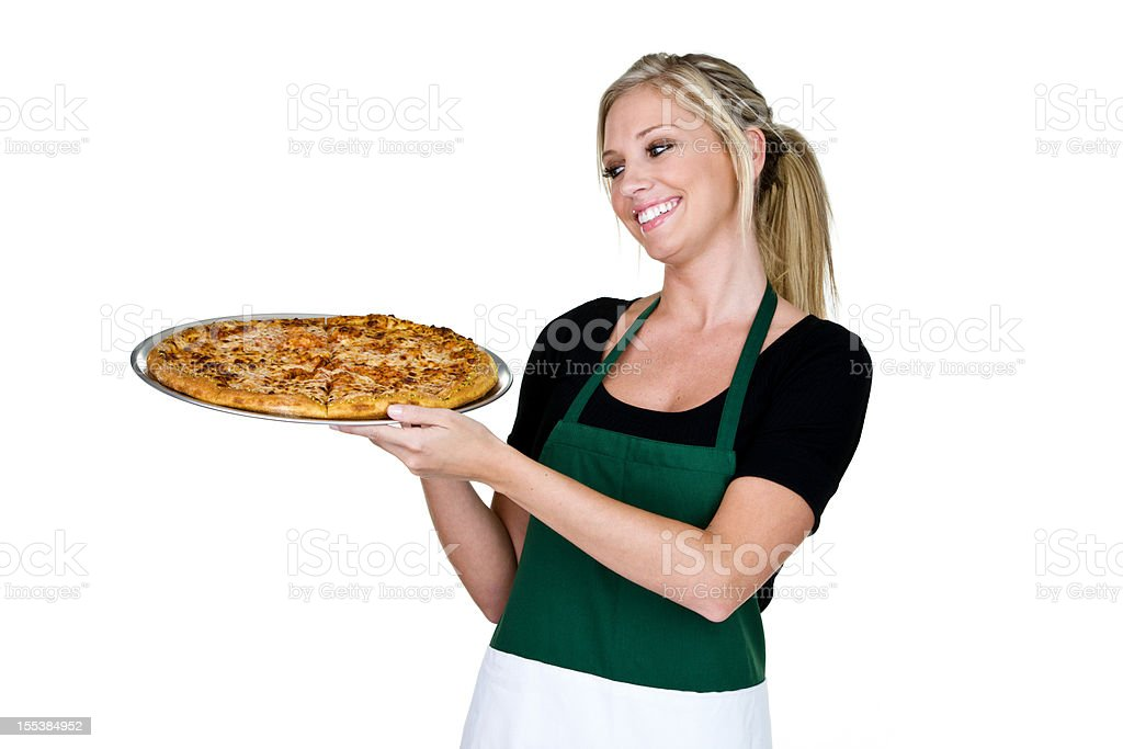 Cheerful woman holding a pizza royalty-free stock photo