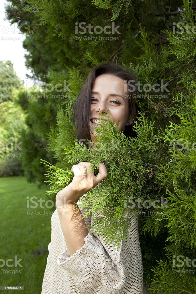 cheerful woman in the garden royalty-free stock photo