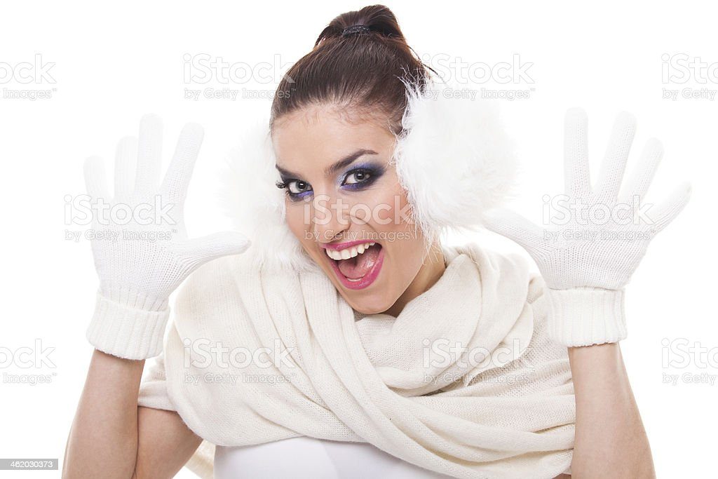 Cheerful woman in the winter style stock photo