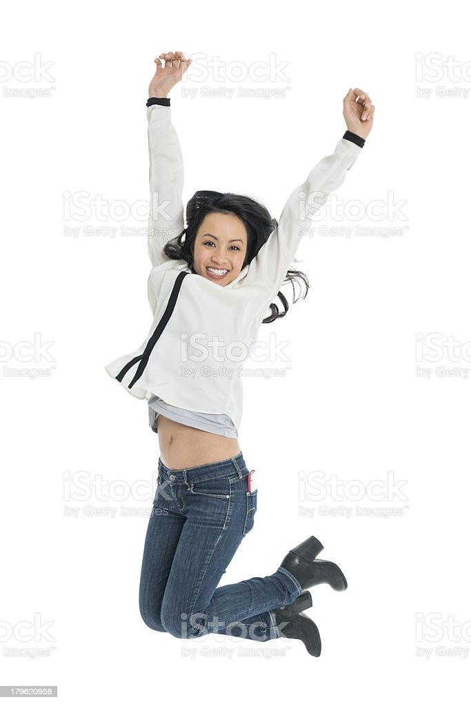 Cheerful Woman Jumping royalty-free stock photo