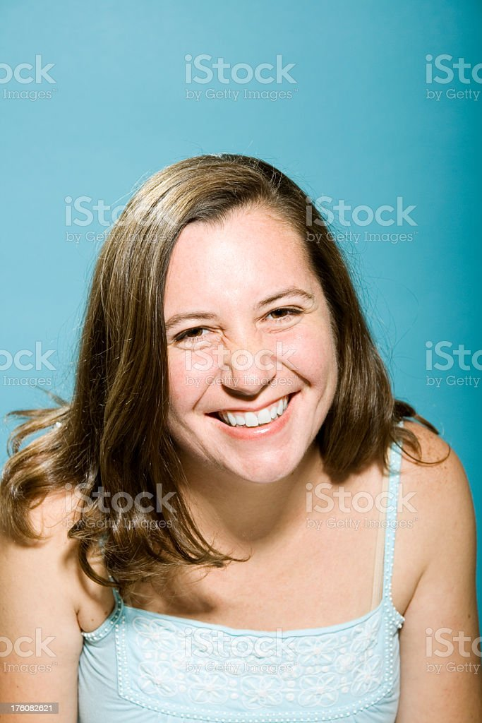 Cheerful Woman Laughing at the Camera royalty-free stock photo