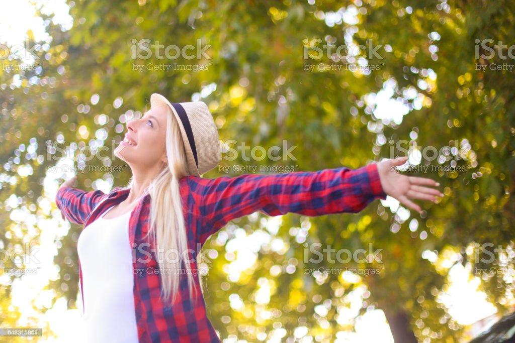 Cheerful woman stock photo