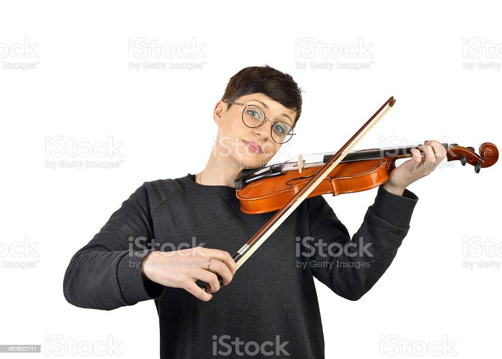 cheerful woman playing violin royalty-free stock photo
