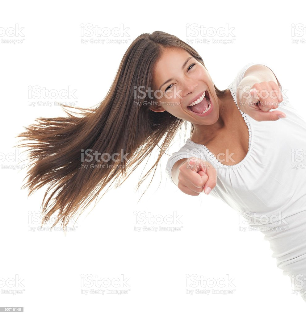Cheerful woman pointing royalty-free stock photo