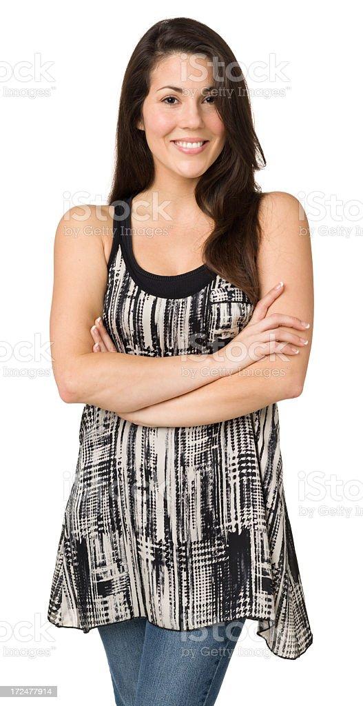 Cheerful Woman Posing, Three Quarter Length royalty-free stock photo