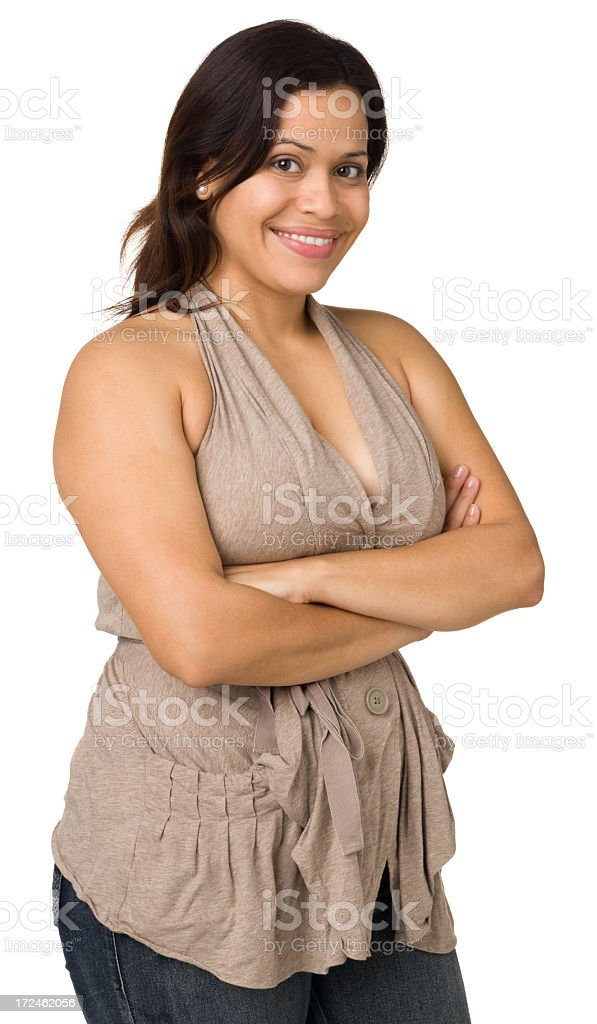 Cheerful Woman Posing With Arms Crossed royalty-free stock photo