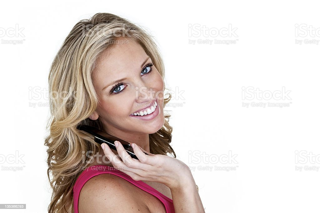 Cheerful woman speaking on the phone royalty-free stock photo