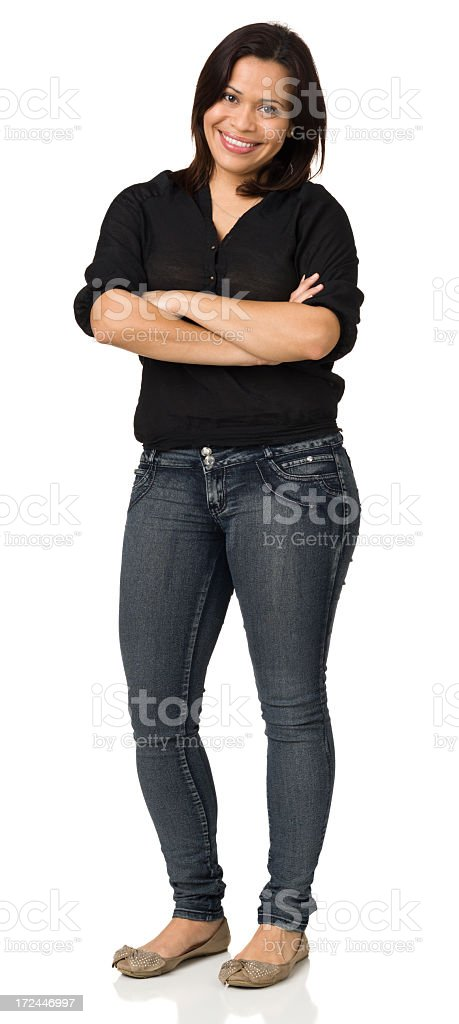 Cheerful Woman Standing, Arms Crossed stock photo