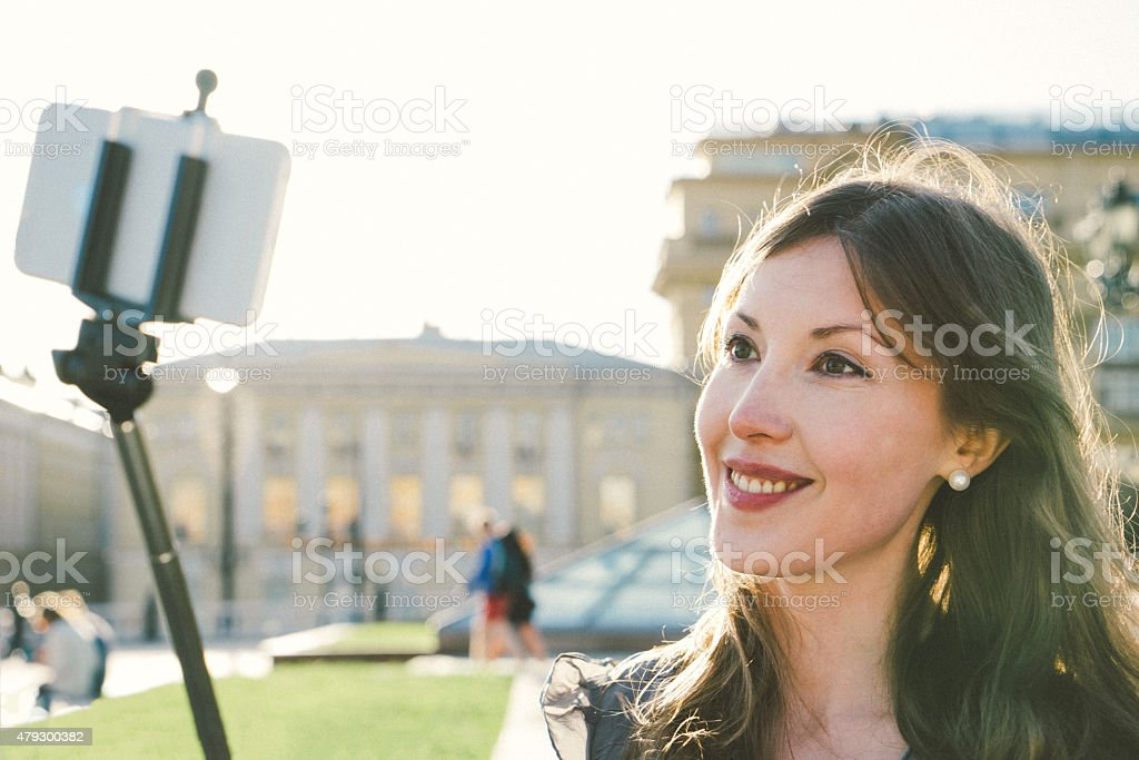 Cheerful Woman Taking A Selfie, Moscow, Russia stock photo