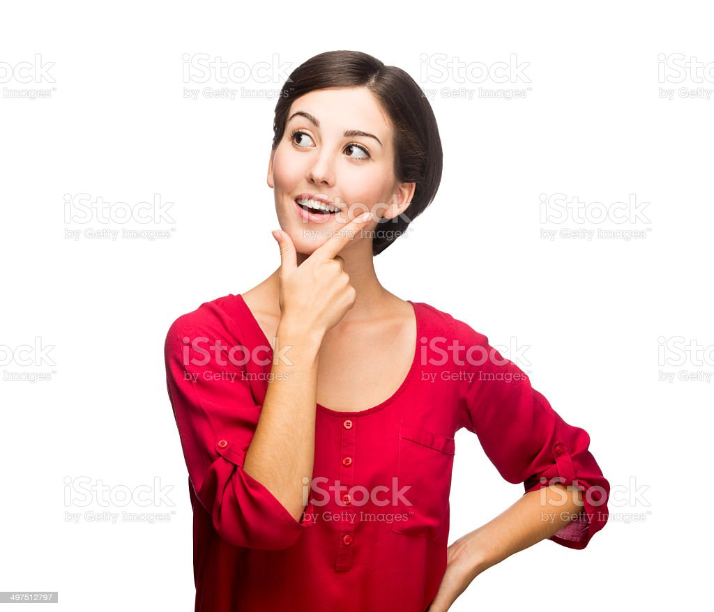 Cheerful woman thinking stock photo