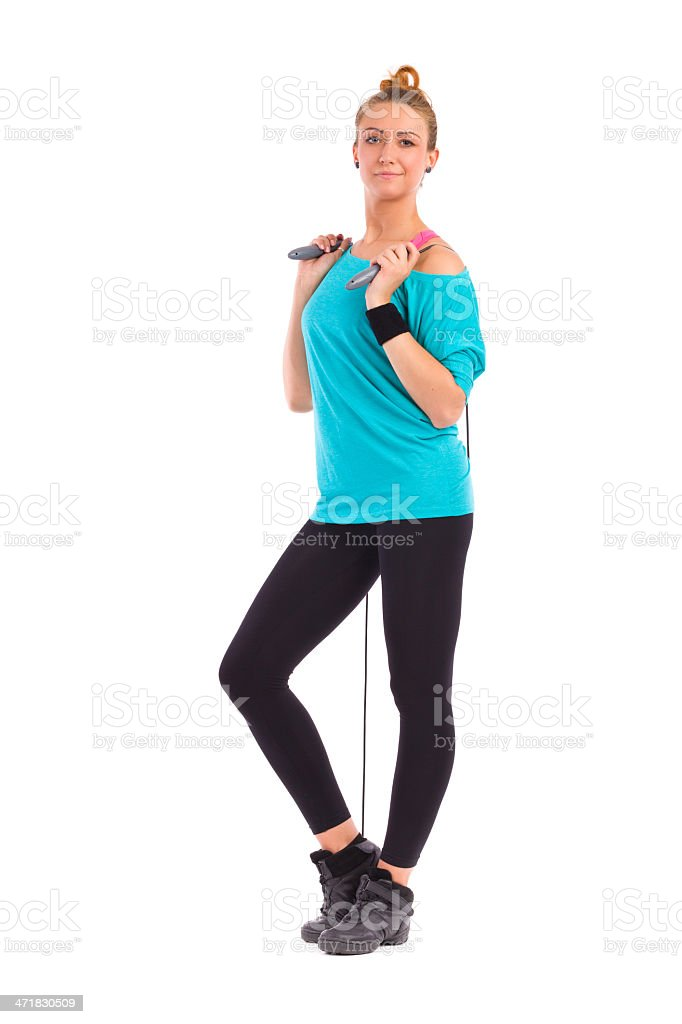 Cheerful Woman with Skipping-rope royalty-free stock photo