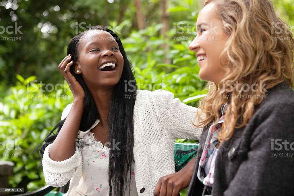 Cheerful women enjoying chat in the park royalty-free stock photo