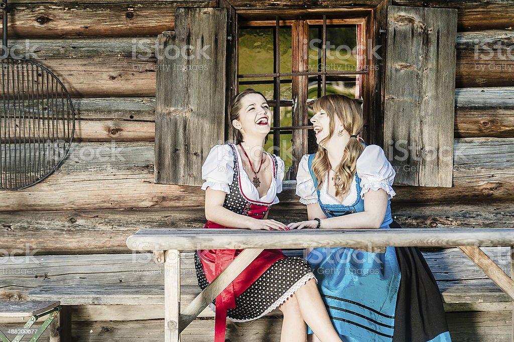 Cheerful Women in Dirndl stock photo