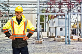 Cheerful worker in power station