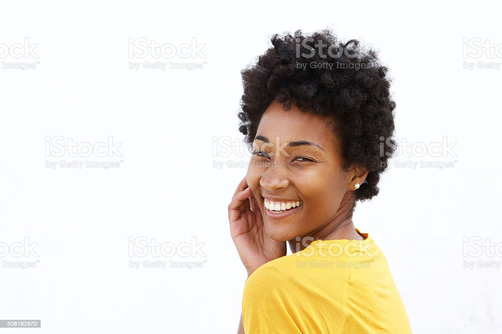 Cheerful young african woman stock photo