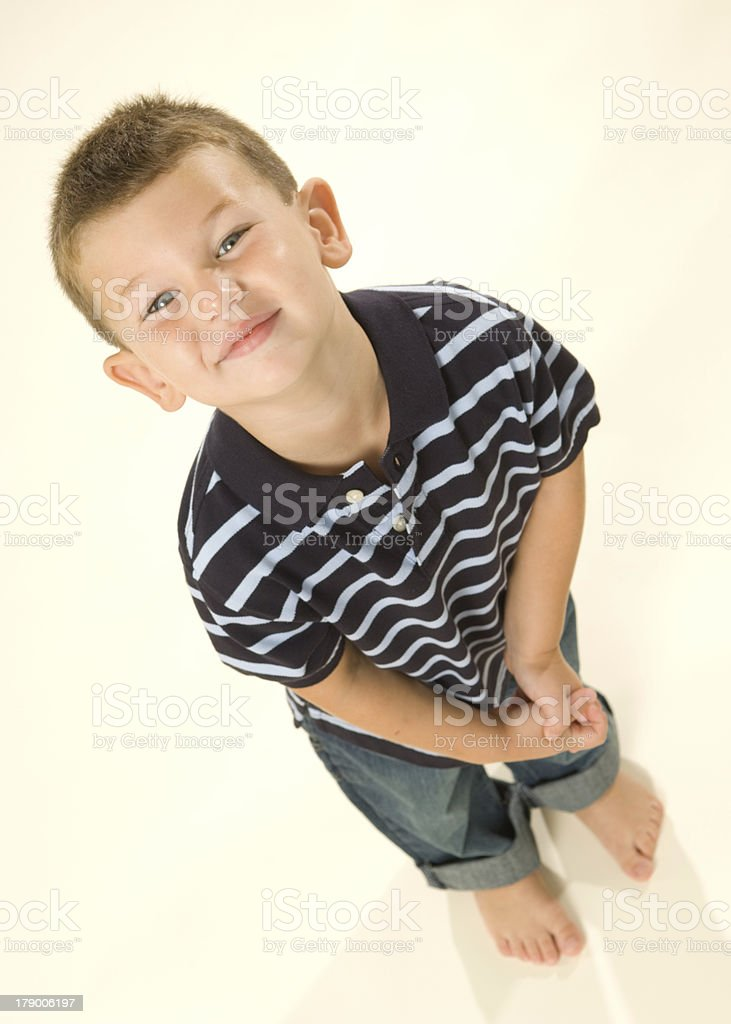 Cheerful Young Boy (Perspective) stock photo
