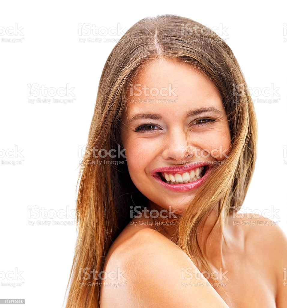 Cheerful young girl smiling over white background stock photo