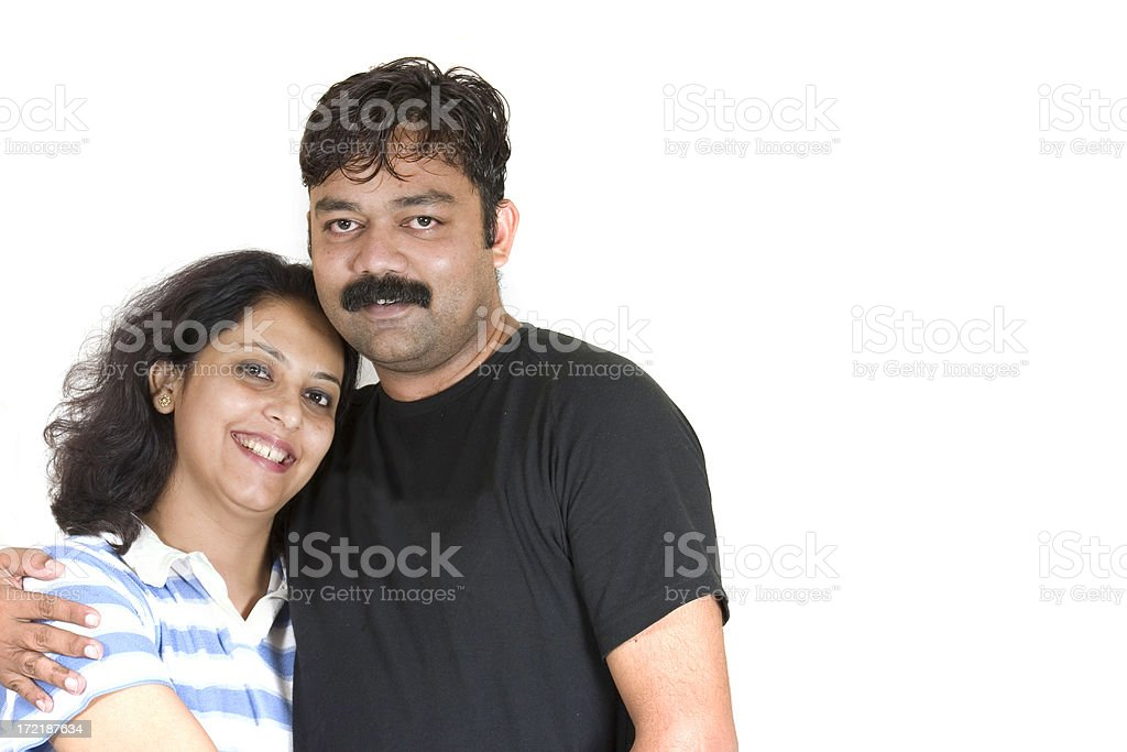Cheerful Young Indian Couple Male Female Embrace Isolated On White royalty-free stock photo