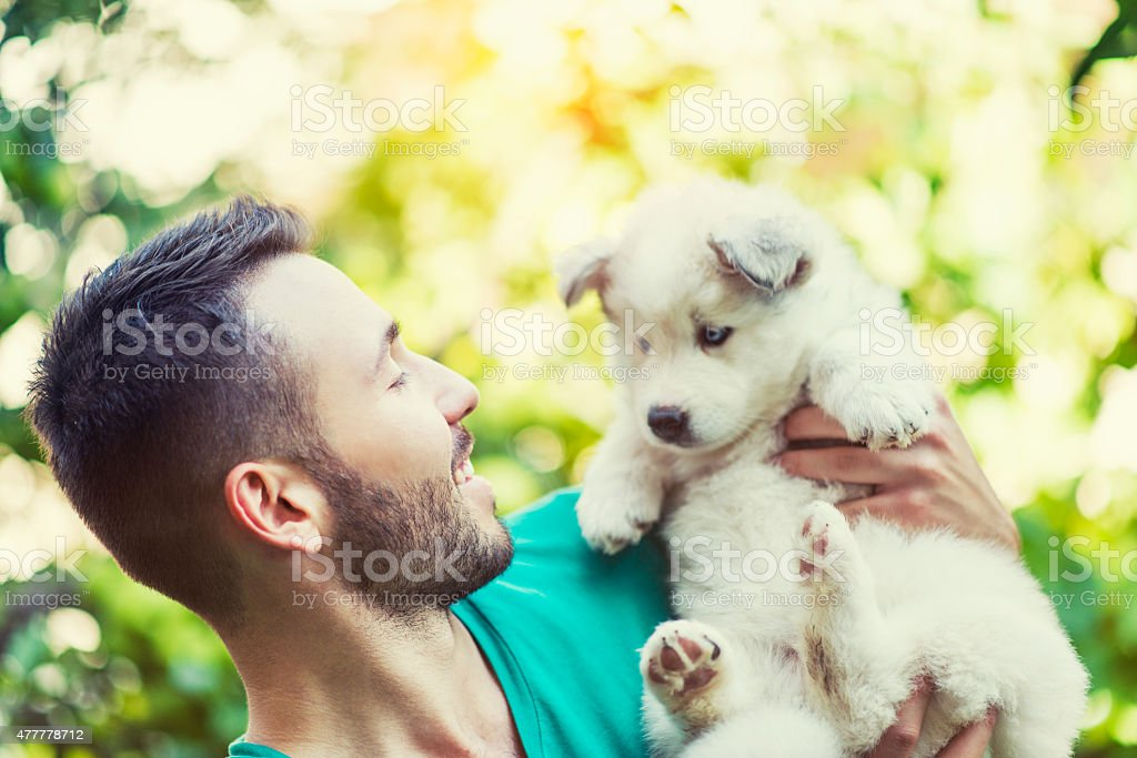 Cheerful Young Male Hugging his Lovely Husky Baby Puppy stock photo